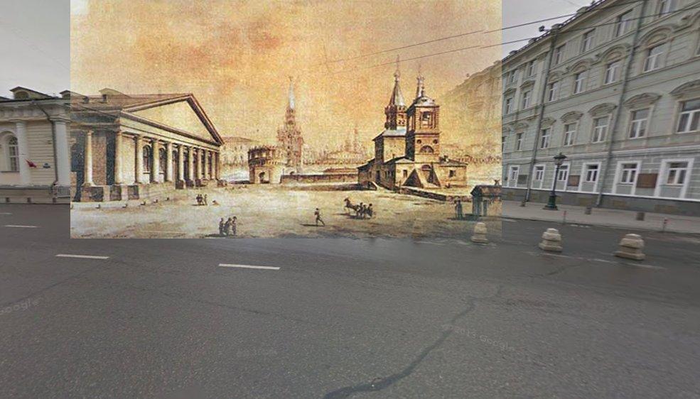 Вид Манежа, Кутафьей башни и церкви Николы в Сапожках. Максим Воробьев, Начало XIX века.