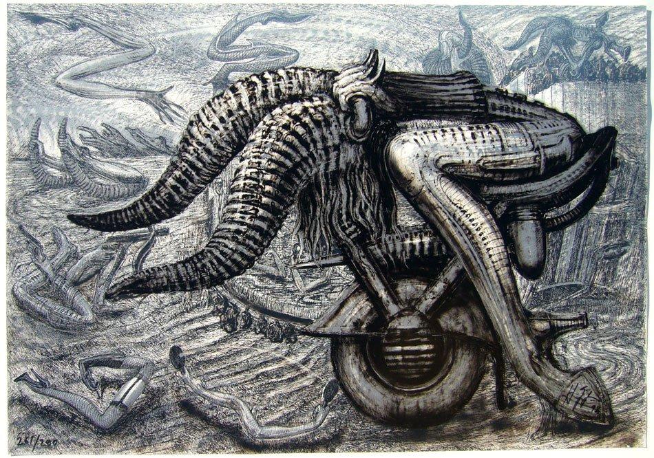Литография TAURUS ZODIAC. Изображение взято с официального сайта художника http://giger.com