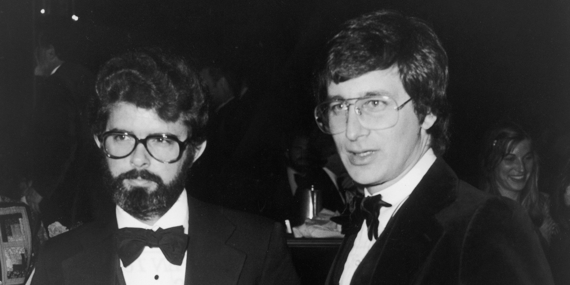 American directors George Lucas (L) and Steven Spielberg hold their Best Director nomination plaques at the Directors Guild of America annual awards dinner held at the Beverly Hilton, Bevery Hills, California, March 11, 1978. Lucas was nominated for his film, 'Star Wars' and Spielberg for his film, 'Close Encounters of The Third Kind,' though neither won. Photo by Frank Edwards/Fotos International/Getty Images)