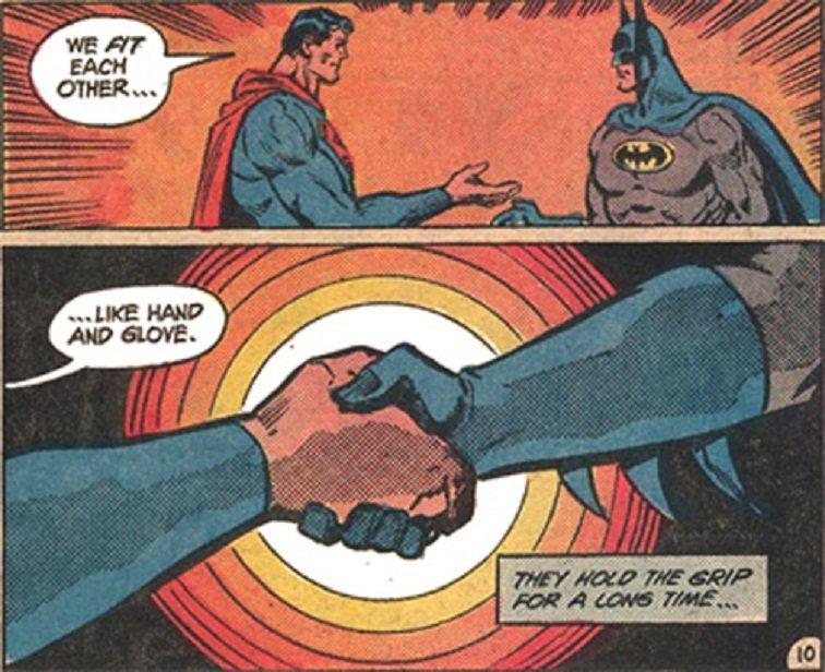 супермен бэтмен комиксы тест отвратительные мужики рукопожатие