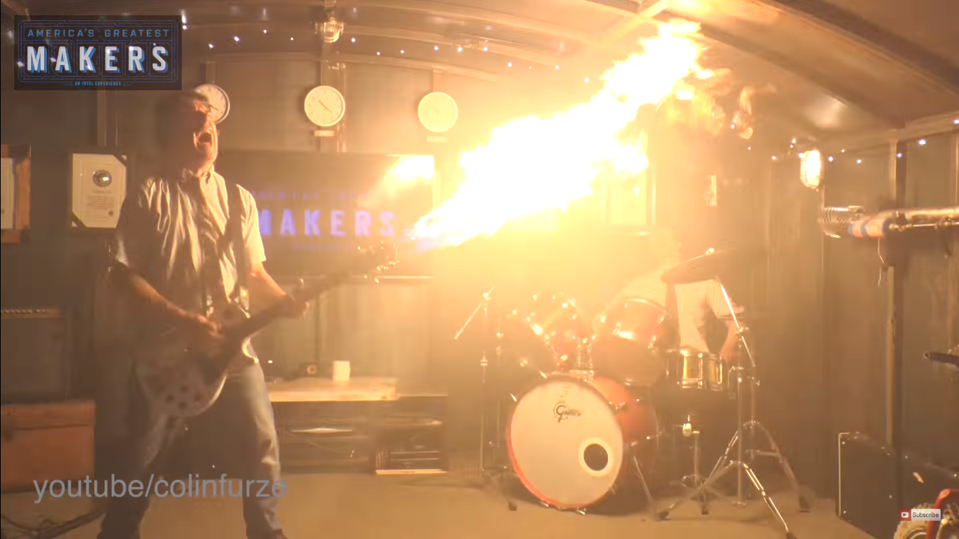 колин ферз гитара-огнемет colin furze flamethrower guitar disgusting men colinfurze отвратительные мужики