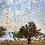 Использование слезоточивого газа для разгона демонстрации. Нилин, Израиль.