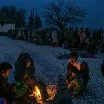 Беженцы из Сирии, пересекшие границу Греции и Македонии. Гемгелия, Македония.