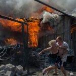 Последствия бомбардировки. Донбасс, Украина.