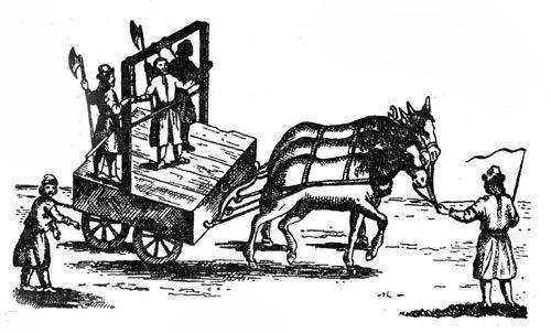 Степана Разина везут на казнь. Английская гравюра 1672 года — единственное современное событиям изображение казни Стеньки.