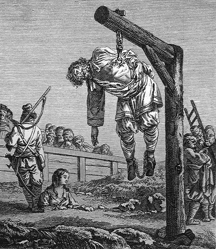 """Казнь через повешение за ребро. Слева – """"женская"""" казнь зарыванием в землю по пояс"""