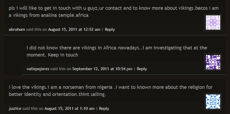 Нигерийские викинги познают скандинавскую культуру в комментариях к статье об Одине
