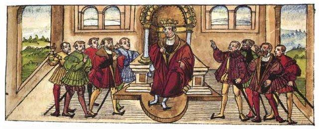 Генрих VII во время королевского приема.