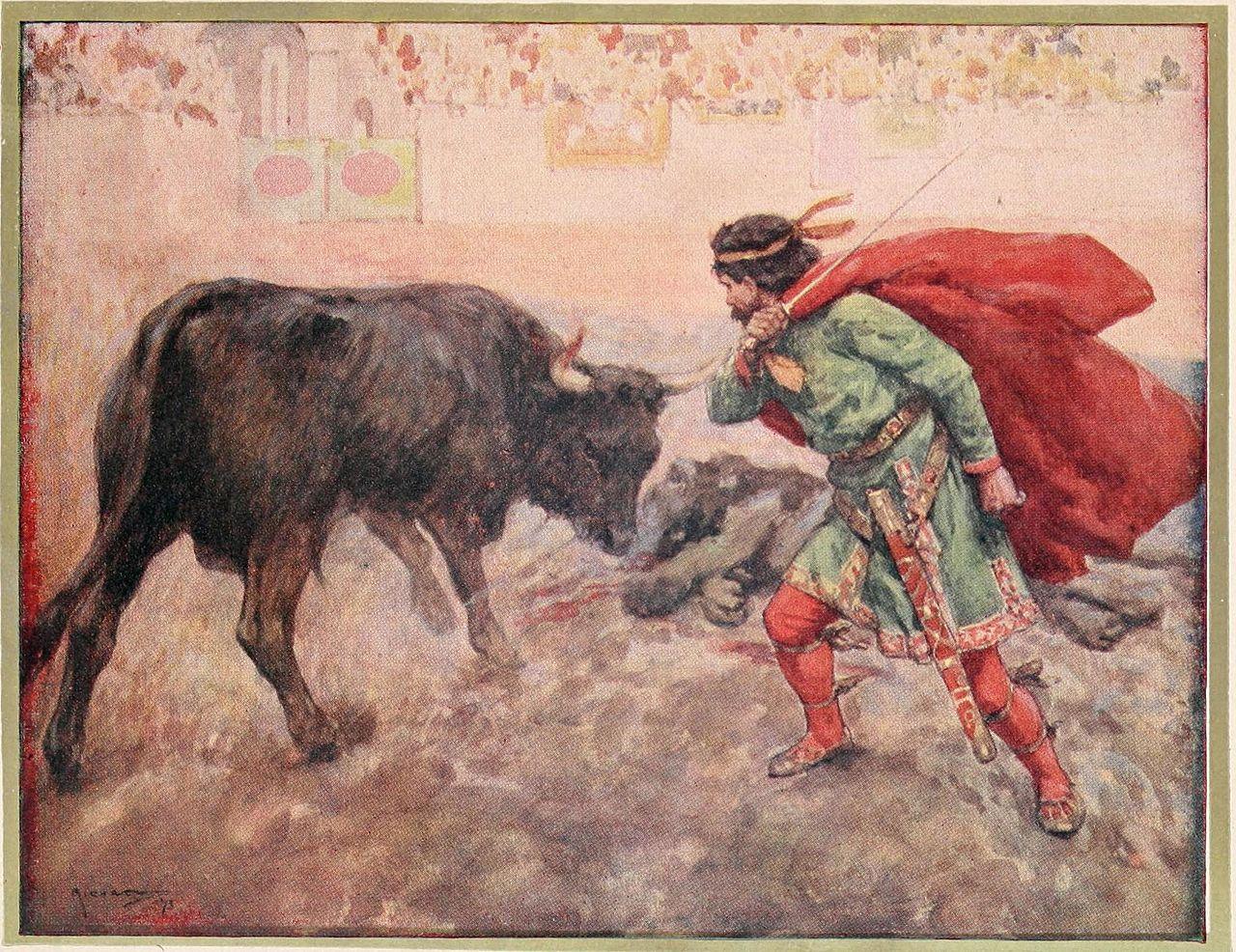 Аллегорическое изображение Пипина, повергающего своих врагов (по легенде он одним ударом отрубил головы быку и льву).