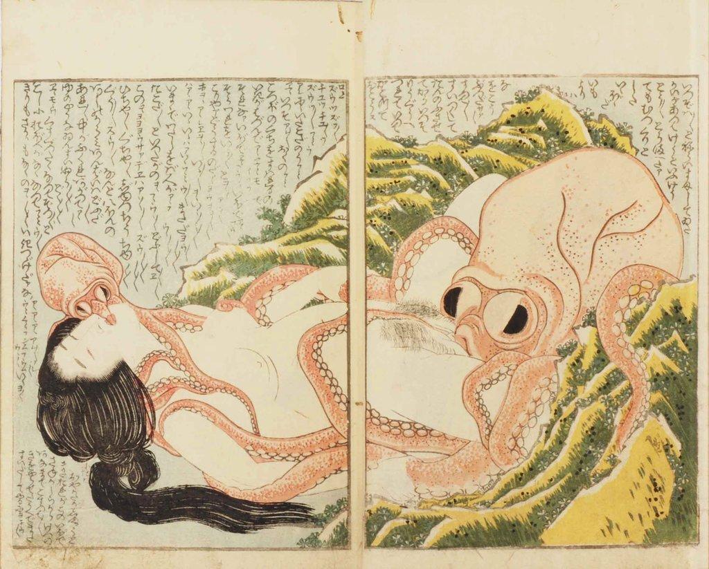 «Сон жены рыбака». Хокусай. 1814 год..