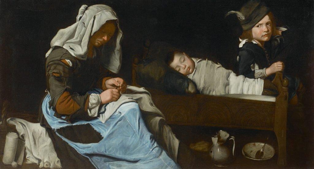 Картина неизвестного художника, на которой девушка подшивает ткань, похожую на джинсовую