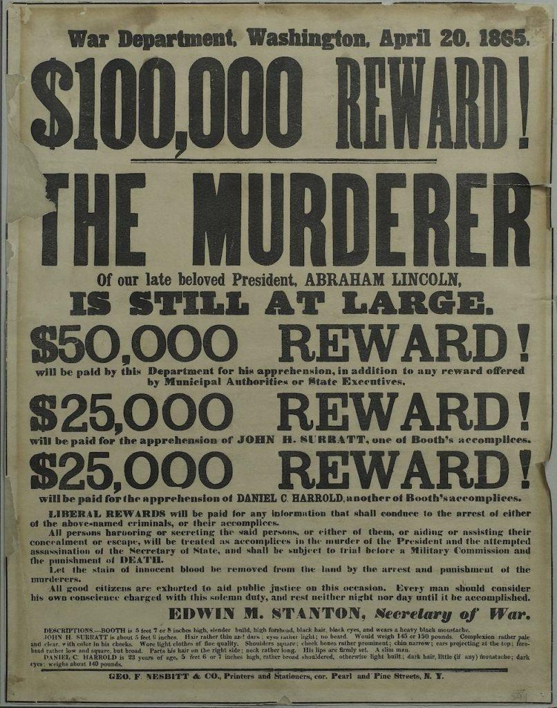 Объявление о награде за помощь в поимке убийцы президента и его сообщников