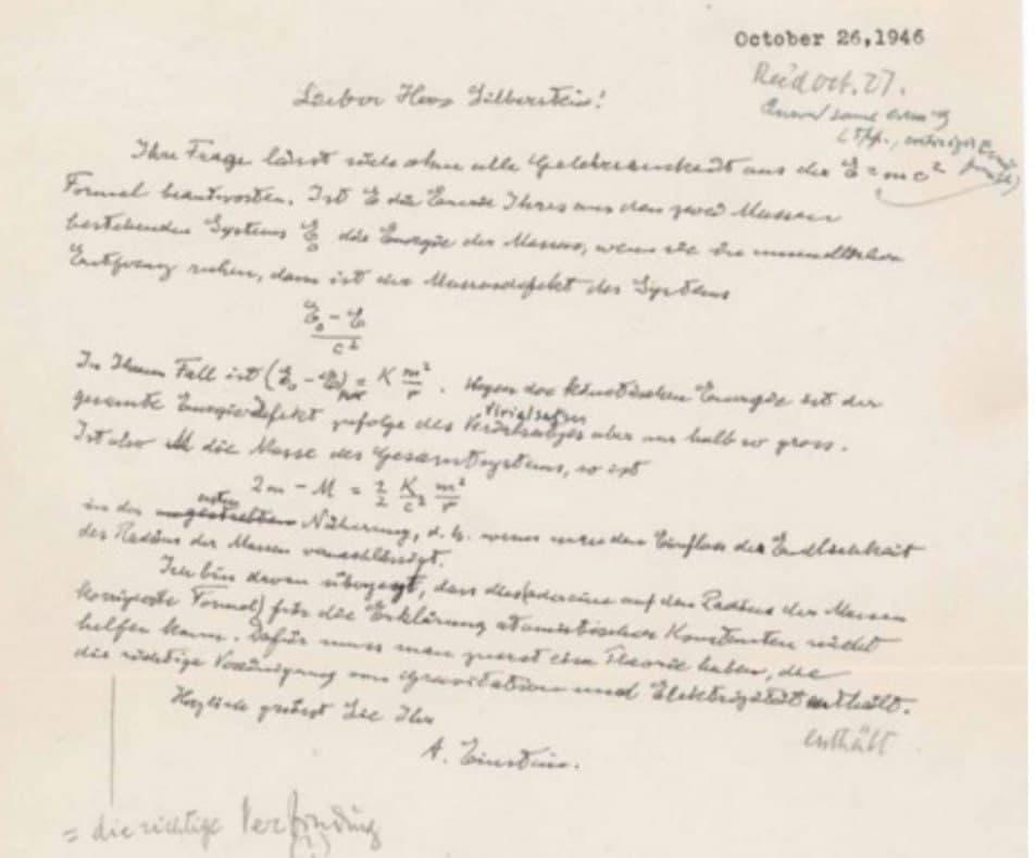 213 - Письмо с написанной рукой Эйнштейна формулой E=mc2 продано на аукционе за $1,2 млн