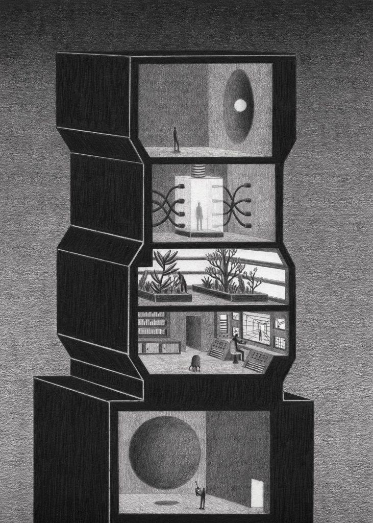 towers 3 731x1024 - Мрачные башни научно-фантастического лавкрафтианства: картины Джеймса Липницкаса