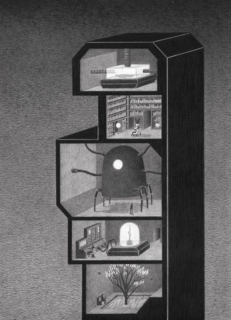towers 4 738x1024 - Мрачные башни научно-фантастического лавкрафтианства: картины Джеймса Липницкаса
