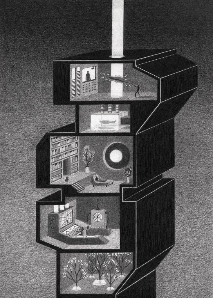 towers 7 734x1024 - Мрачные башни научно-фантастического лавкрафтианства: картины Джеймса Липницкаса